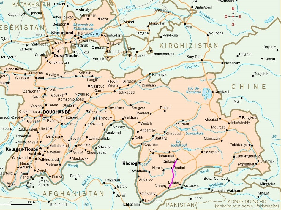 Our route on the map of Tajikistan. Наш путь на карте Таджикистана.