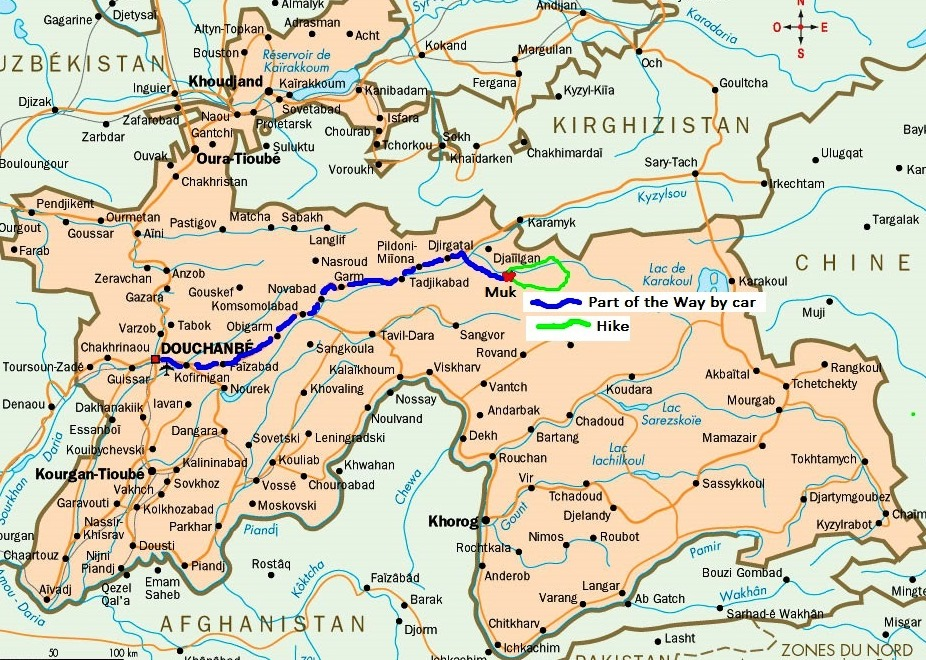 00 Our route on the map of Tajikistan