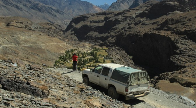 The route to the glaciers of the Central Pamir.Car part of the way.