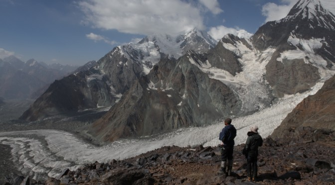 The route to the glaciers of the Central Pamir. The pedestrian part. Camp on the route.